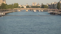 Boat Traffic Seine River Tourism Activity Paris Urban Europe Travel Attraction. Stock Footage