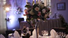 wonderful wedding bouquet on table - stock footage