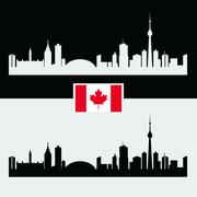Canada silhouette with Canadian famous city buildings Stock Illustration