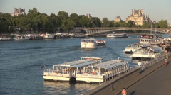 Seine Touristic Port View Trip Boats Waiting Tourists Paris Europe Sightseeing. Stock Footage