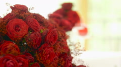 bouquet of red roses - wedding decoration - stock footage