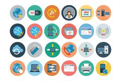 Internet Flat Vector Icons Set Stock Illustration