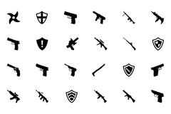 Weapons Vector Icons Set Stock Illustration