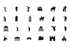Monuments Vector Icons Set - stock illustration