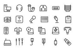 Computer Hardware Vector Line Icons Pack Stock Illustration