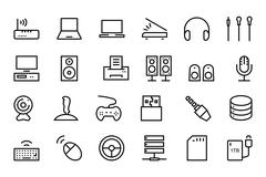 Computer Hardware Vector Line Icons Set Stock Illustration