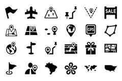 Maps And Navigation Vector Icons Pack Stock Illustration