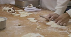 Cook prepairing shoronpo dumplings in resturant Taiwan Stock Footage