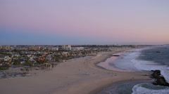 Los Angeles Aerial over beach Stock Footage