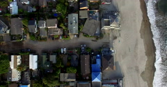 Aerial Overhead Shot of Beach Front Houses - stock footage