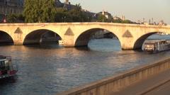 Time Lapse View Pont Royal Paris Landmark Tourist Cruise Seine River Boat Trip. Stock Footage