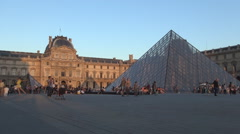 Pyramid Monument Front Louvre Museum Square Sunset Red Light View Evening Day. Stock Footage