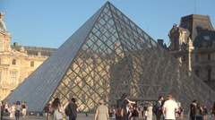 Paris Landmarks Louvre Museum Pyramid Tourism Destination Attraction Monument.  Stock Footage