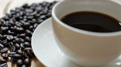 Coffee Bean And Coffee Cup - stock footage