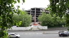 Demolition in progress: office building put down Stock Footage