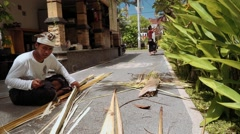 Balinese man cutting a palm branch to make penjor on Galungan Day Stock Footage