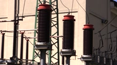 Ceramic insulators of a Power Station Stock Footage