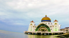 View of the floating mosque in Melaka Stock Footage