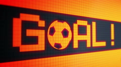 "Running lines - text ""goal !!!"" and rolling a soccer ball red-orange color Stock Footage"