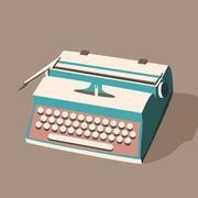 Vintage typewriter. Vector illustration. Isolated background - stock illustration
