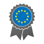 Isolated award badge with  the EU flag stars Stock Illustration