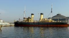 The Suur Toll ice breaker ship on dock Stock Footage