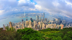 Hong Kong Cityscape High Viewpoint Of The Victoria Peak Time Lapse (tilt up) Stock Footage