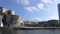 Afternoon pan of Bilbao Guggenheim Stock Footage