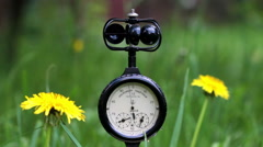 The Anemometer On The Background Of Wild Flowers Stock Footage