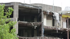 Demolition of an office building in progress Stock Footage