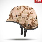 Military modern camouflage helmet. Side view - stock illustration