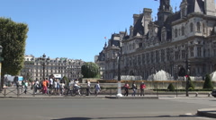 Quai de l'Hôtel de Ville Square Art Monuments Fountains Tourists Sightseeing. Stock Footage