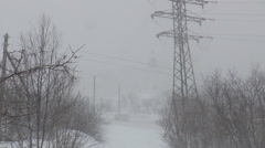 Trees, power poles and passing cars in a snowstorm. - stock footage