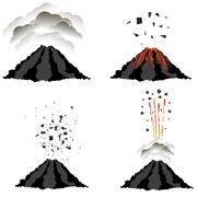 Volcano Erupting . Peak of Mountain. Fiery Crater - stock illustration