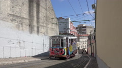 Funicular tram climbs the hill Stock Footage