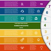 Infographic,7 colour strips and semicircle - stock illustration