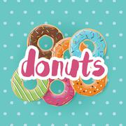 Poster design with colorful glossy tasty donuts - stock illustration