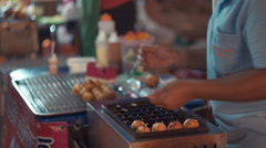 Vendors Frying Pork Balls At A Thailand Market Stock Footage