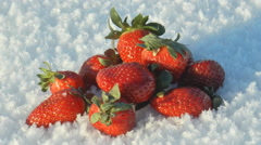 Large strawberries lie on the snow. Stock Footage