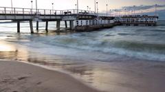Time lapse sea beach pier long exposure - stock footage