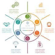 Multi-coloured ring Infographic six positions - stock illustration