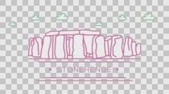 Stonehenge. Part of the set. Animated outlined landmark 4K footage Stock Footage