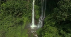 Aerial shot of beautiful waterfalls in green wet jungle.  Stock Footage