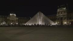 Night View Pyramide Du Louvre Paris Touristic Landmark Public Attraction. Stock Footage