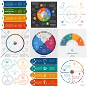 Set 9 templates Infographics cyclic processes on four positions Stock Illustration