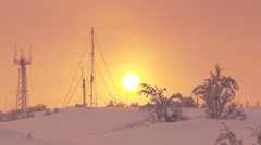 Polar meteo station against the setting sun in winter. Stock Footage