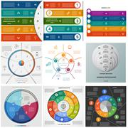 Set templates Infographics cyclic processes on five positions Stock Illustration