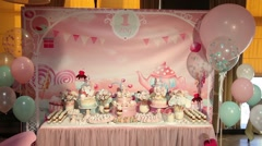 Sweets cake cakes and marshmallows on the table Stock Footage