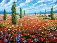 Flower painting Field of red poppies. oil painting beautiful red flowers. Stock Illustration
