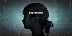 Woman Facing Depression - stock illustration